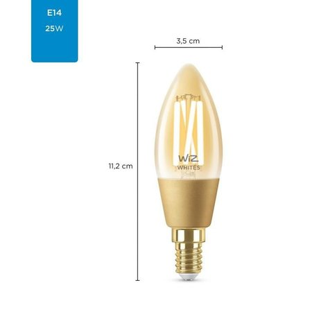 PHILIPS Ledlamp Wiz Filament Amber C35 E14 4,9W